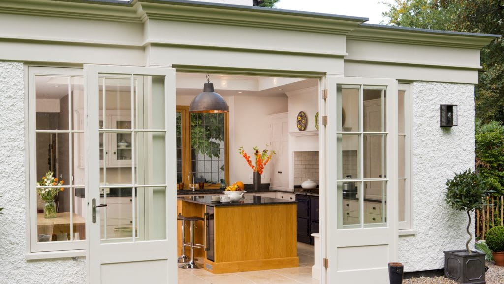 Kitchen room shown from outside looking in
