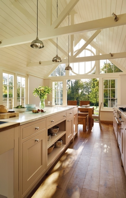 Open planned kitchen in garden room extension