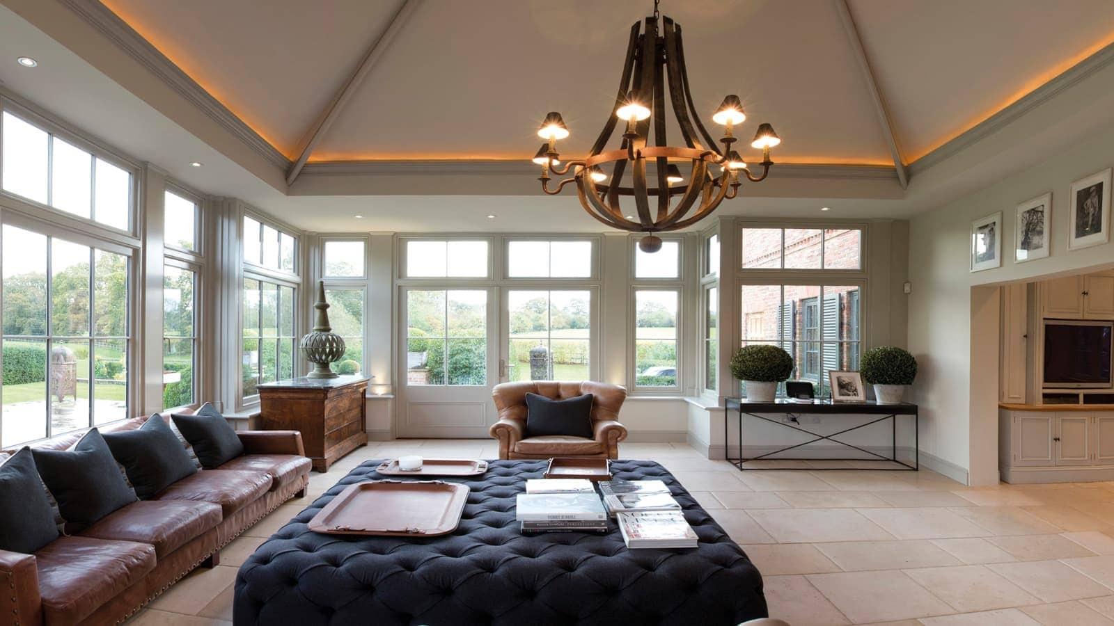 Open plan living area inside new orangery
