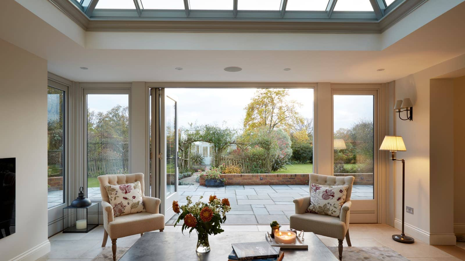 Cosy Orangery with a Fireplace