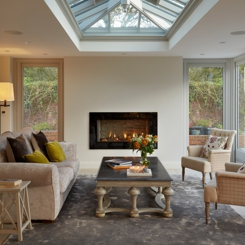 Cosy orangery with fireplace