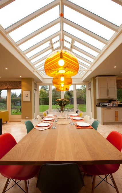 Orangery with large oak table and roof lantern