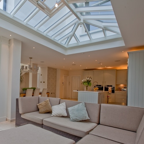 Spacious orangery with roof lantern and seating