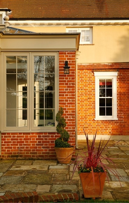 Close up of beautifully designed orangery windows
