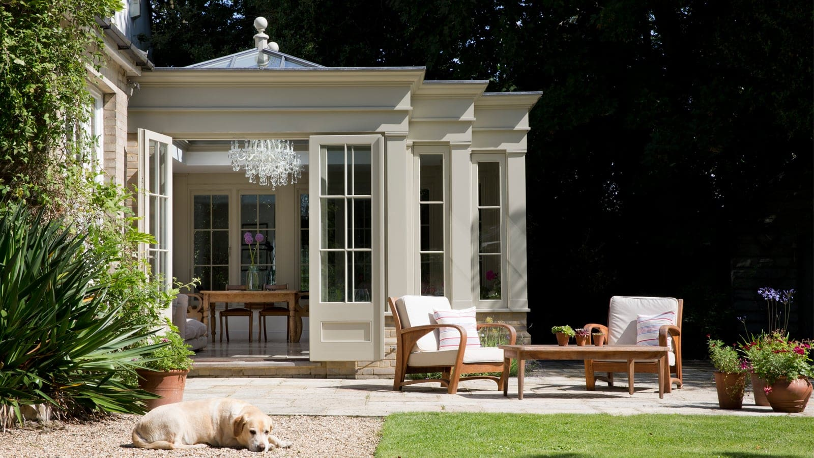 New orangery addition blending seamlessly with the architecture of the original house