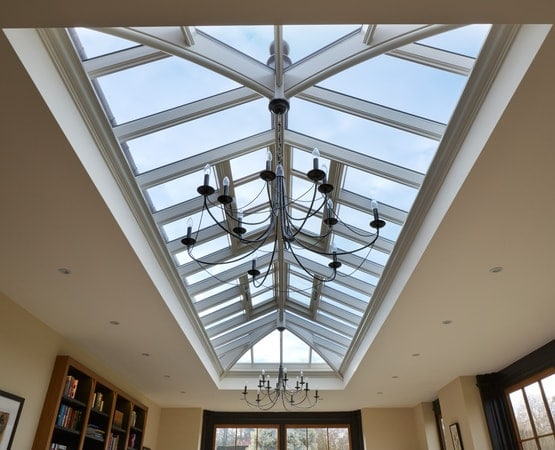 Large roof lantern proving natural light into the orangery