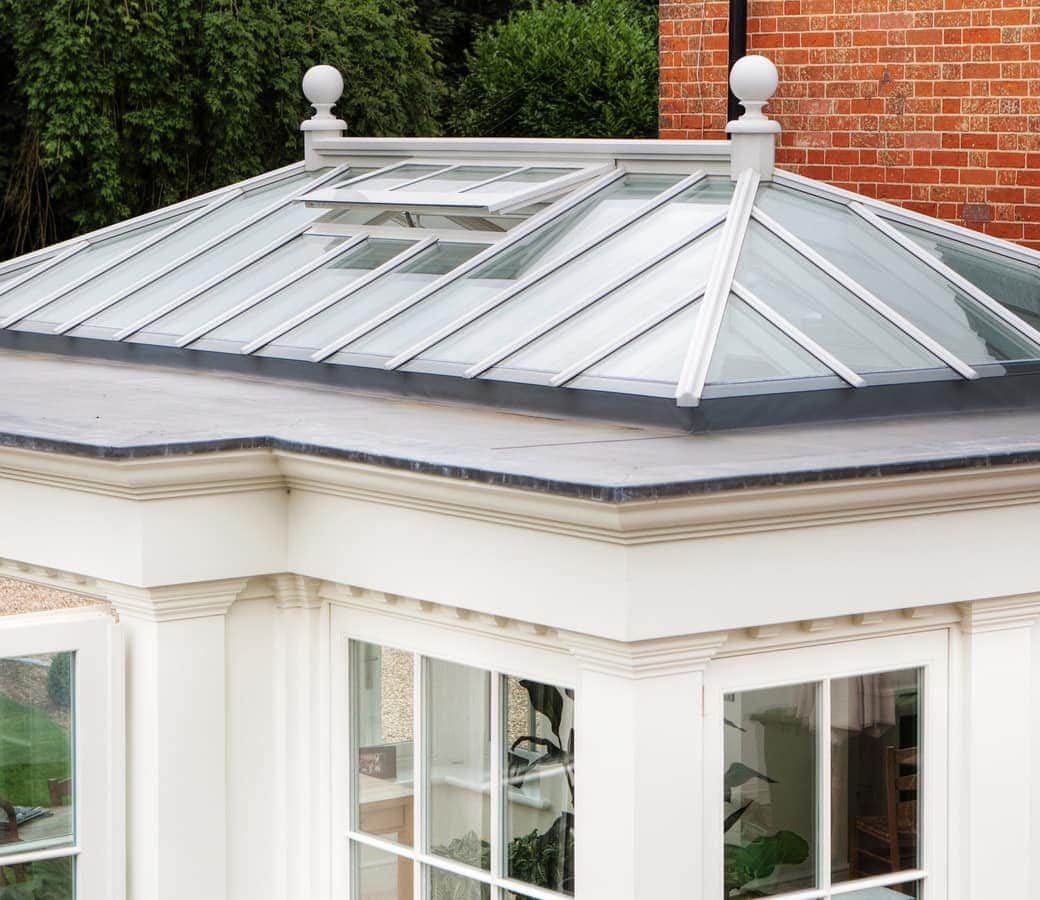 Orangery roof lantern with open roof vent