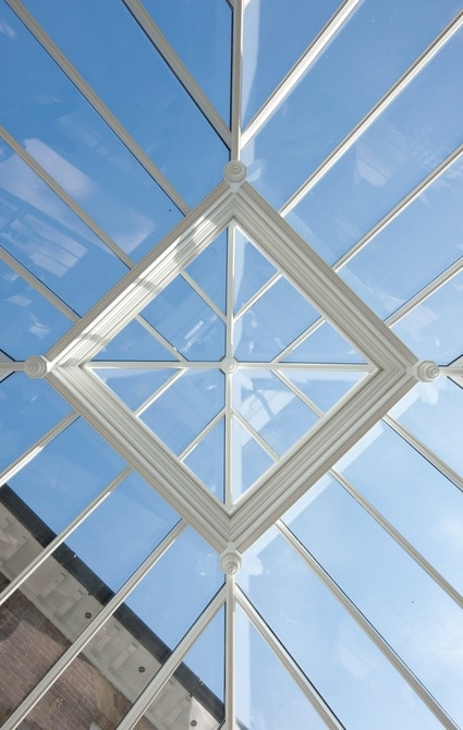 Close up of roof lantern, looking up to the sky