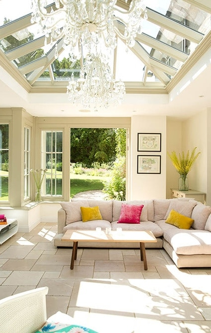 Spacious seating area beneath large roof lantern