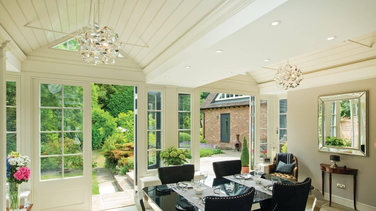 Interior shot of south facing garden room