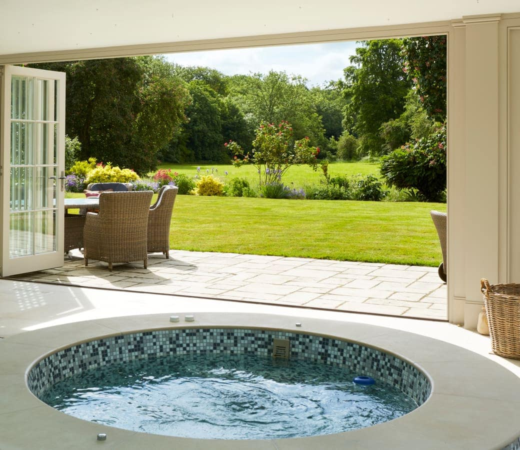 View of stunning gardens from jacuzzi