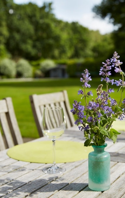 Wine glass and flowers on garden table