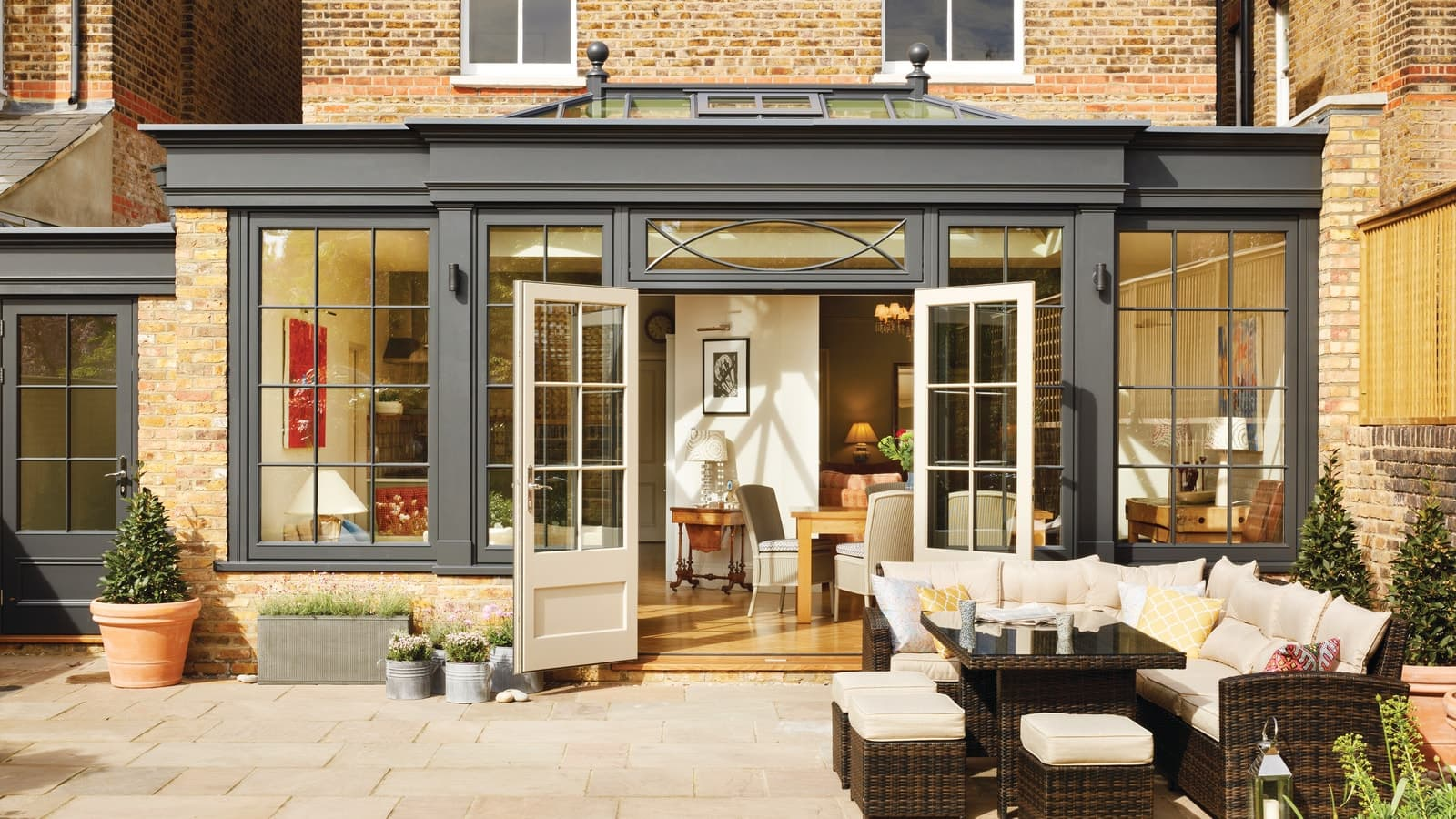 Striking orangery extension with black finish in London