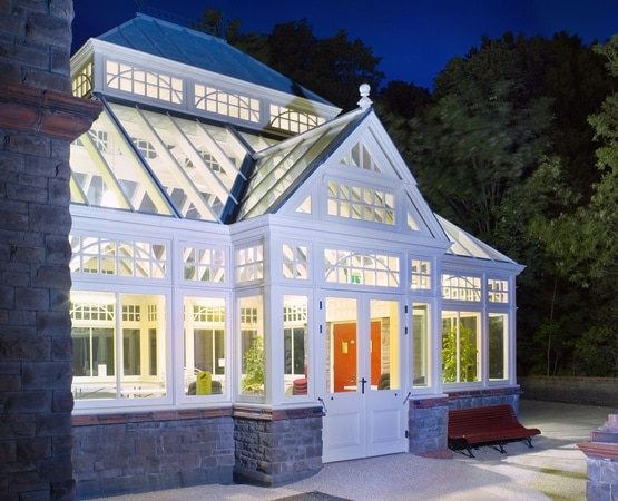 Beautifully designed conservatory with traditional curved glazing bars