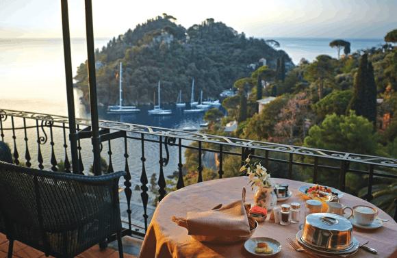 Balcony view across the beautiful waters in Portofino