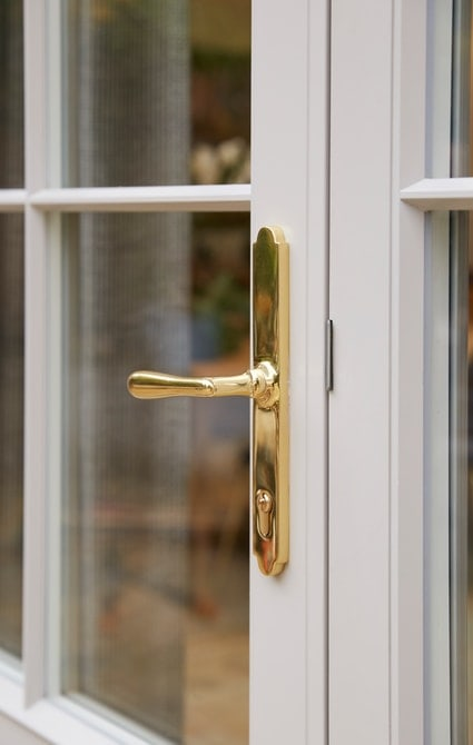 French door brass handle