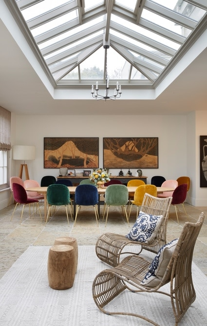 Classy open plan living space with dining stable and colourful seats