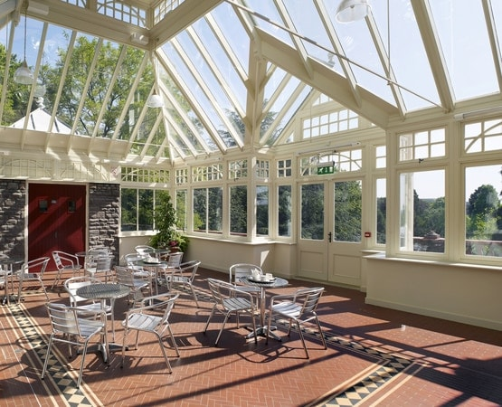 Conservatory interior, highlighting the spectacular height and volume achieved by the design