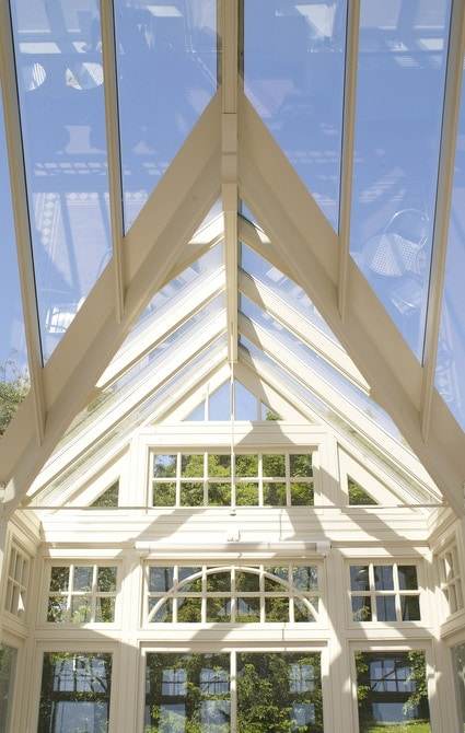 Glass gable on traditional Victorian conservatory with curved glazing bars