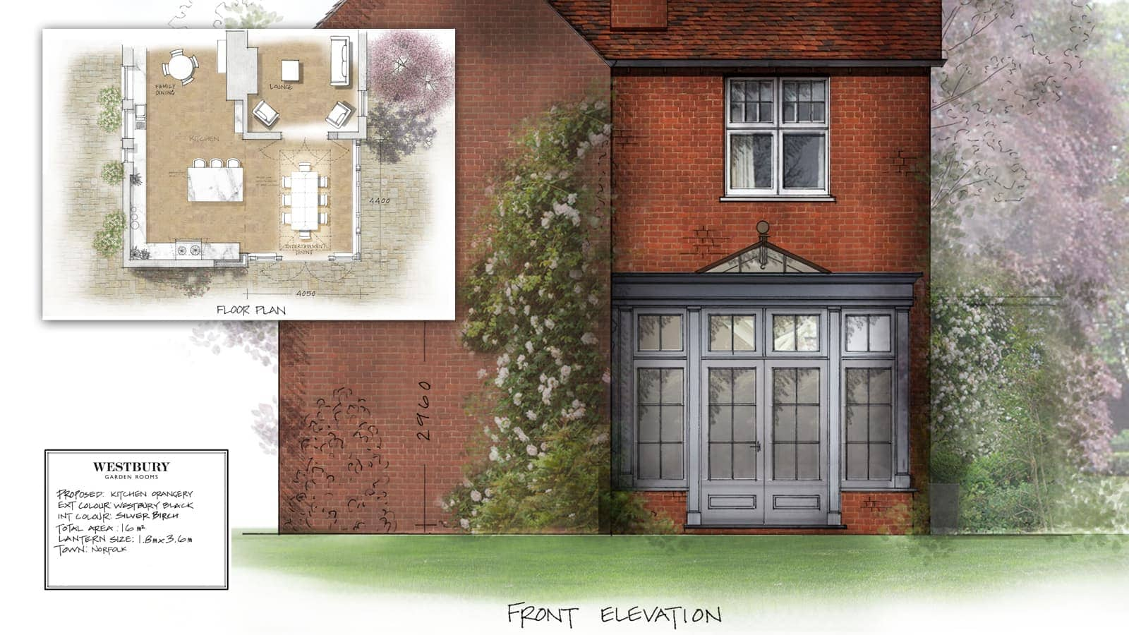 Orangery extension designed to complement the Edwardian features of this beautiful property