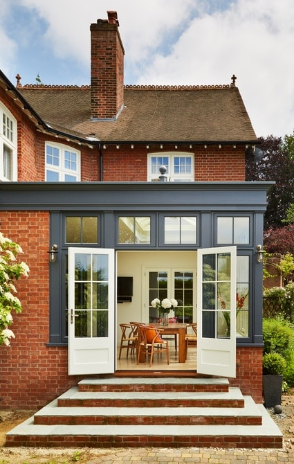 Striking orangery painted Westbury Grey