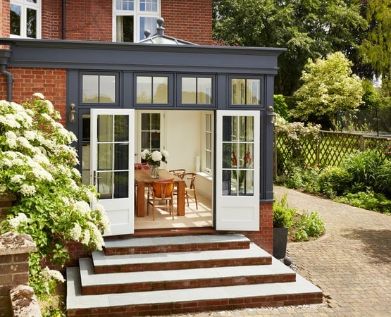 South facing black orangery extension
