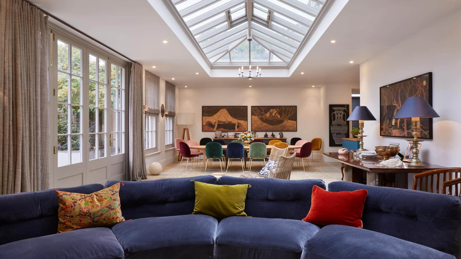 Stylish orangery with sitting area and roof lantern