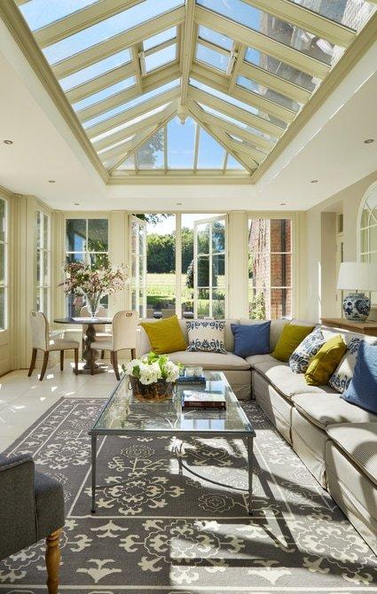 Stunning roof lantern in this timber orangery