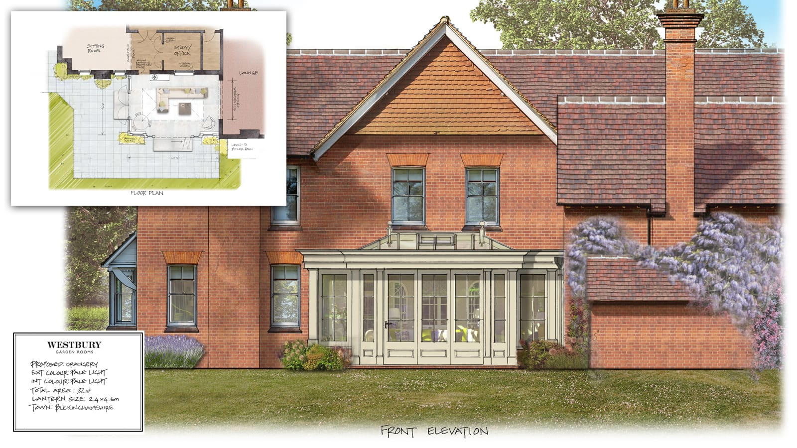 Drawing of the Westbury timber orangery extension