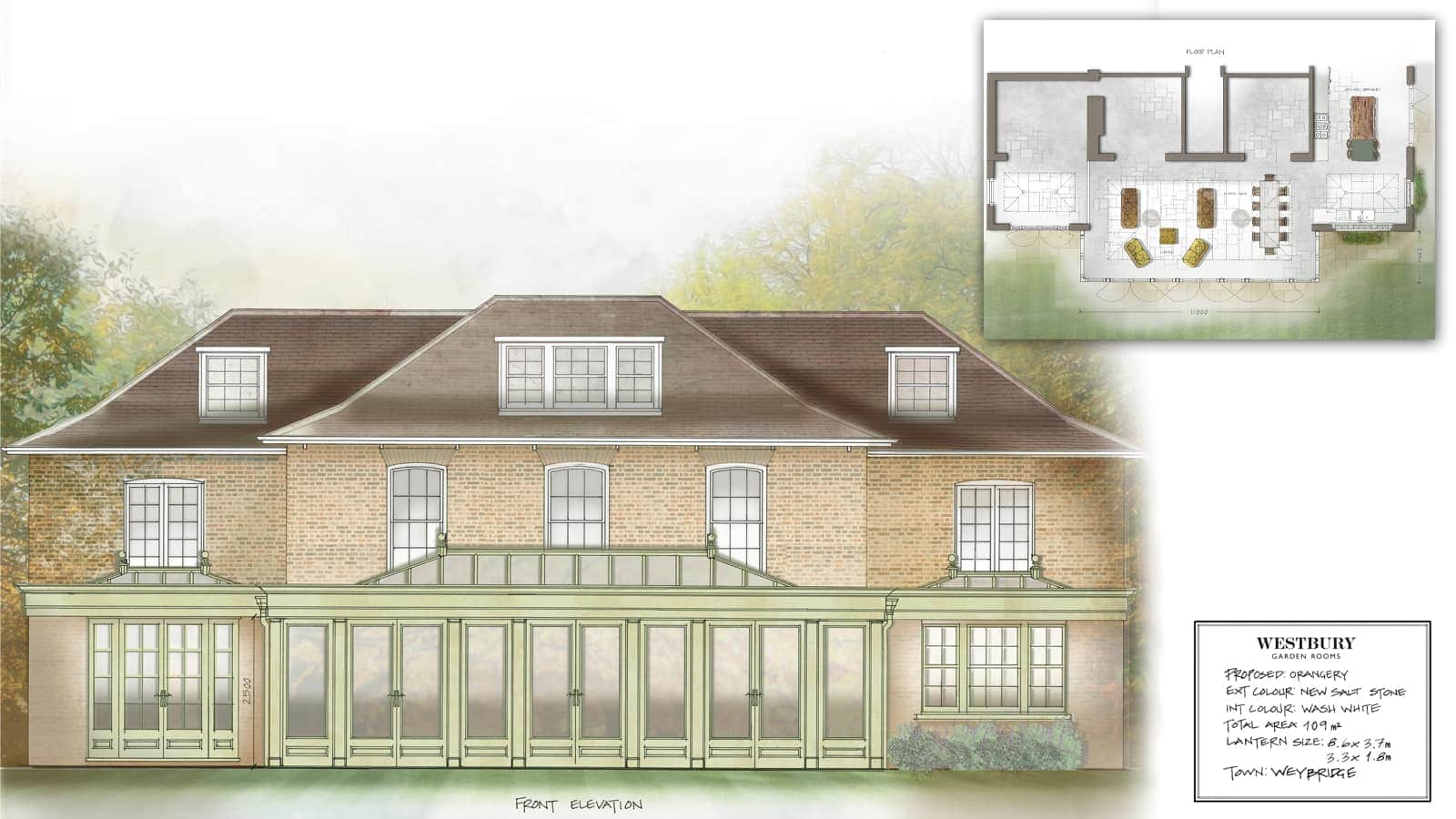 Westbury - kitchen extension design drawing, Weybridge