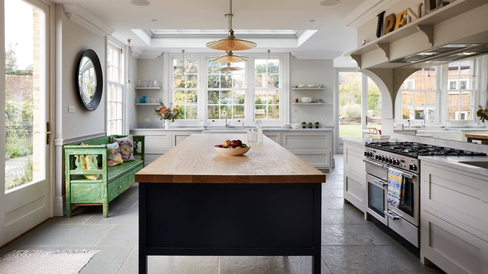 Dark blue island, kitchen extension