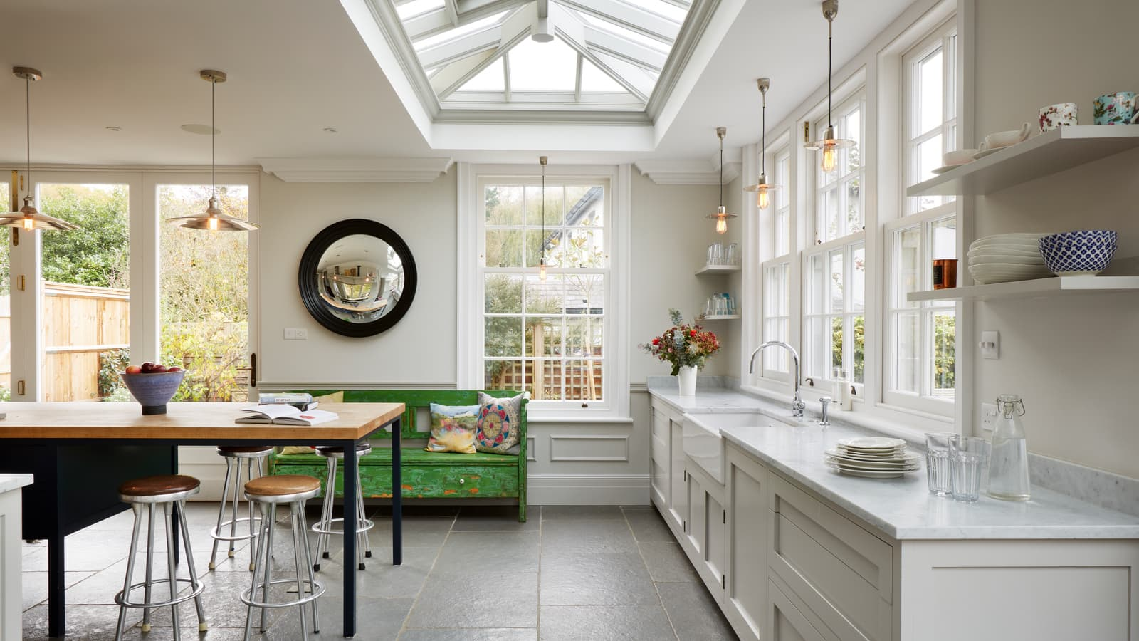 Large modern orangery kitchen extension with roof lantern
