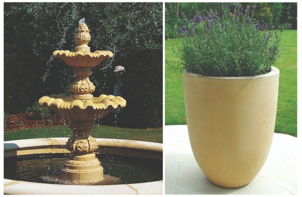 Crucible water feature and matching planter