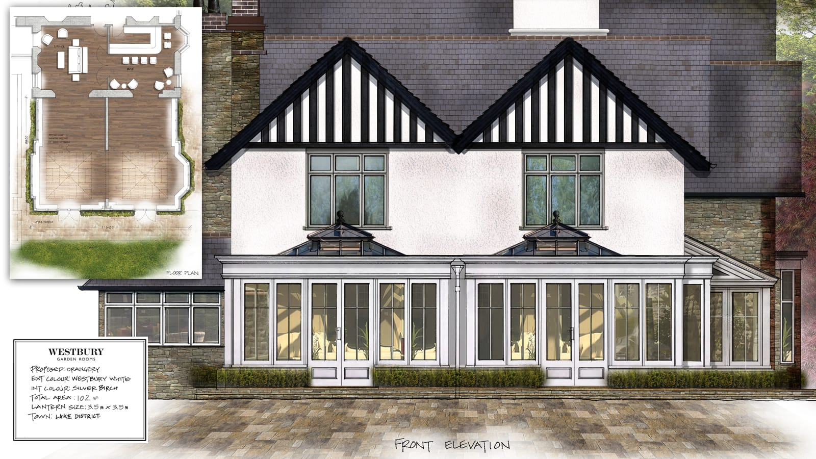 Westbury design drawing of large orangery at Linthwaite house