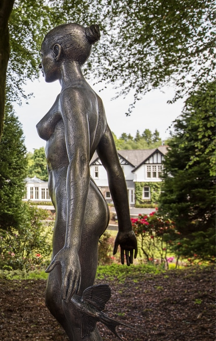 large orangery renovation - statue at Linthwaite house
