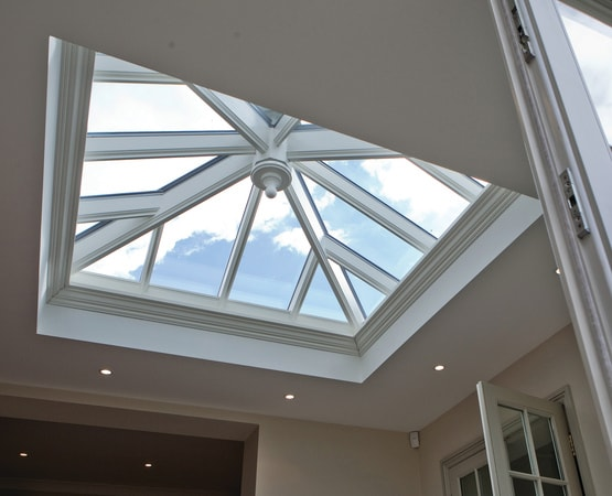 Timber orangery with square roof lantern