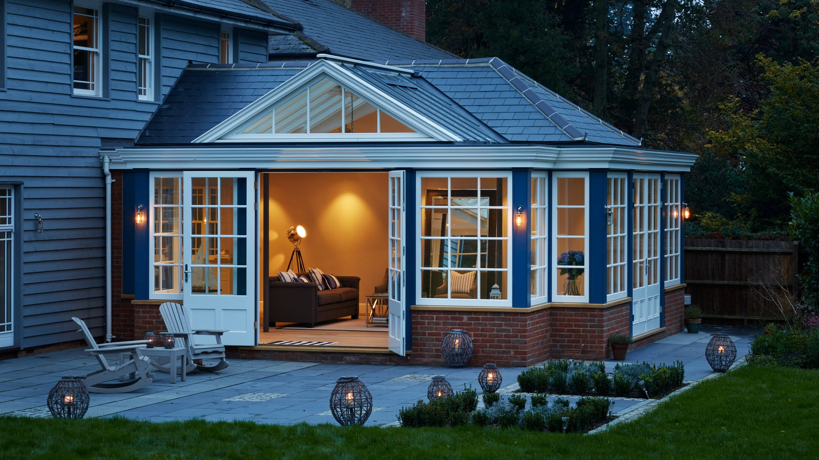 Evening lighting enhances the mood of the Garden Room
