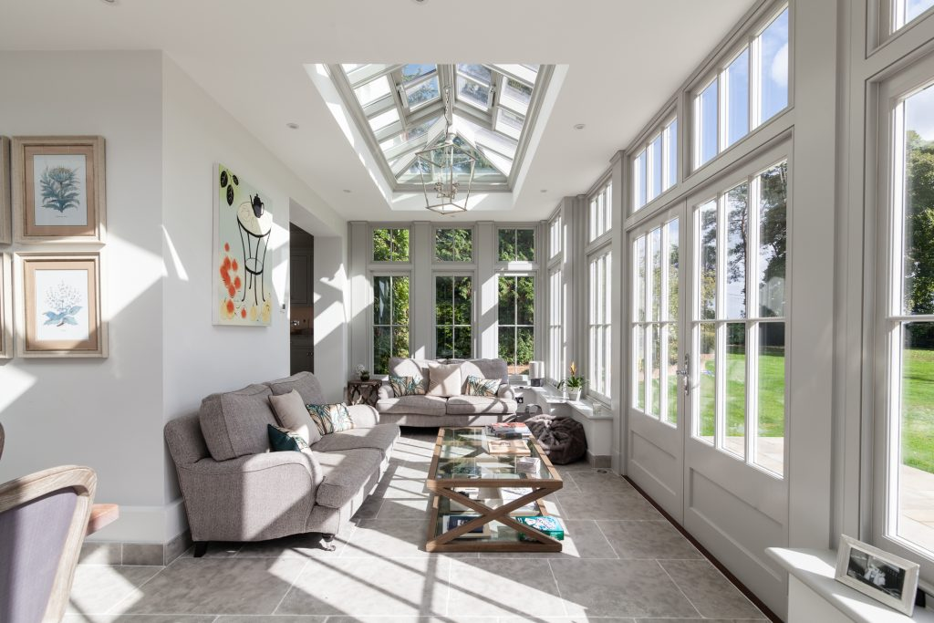 L-shaped orangery with roof lantern