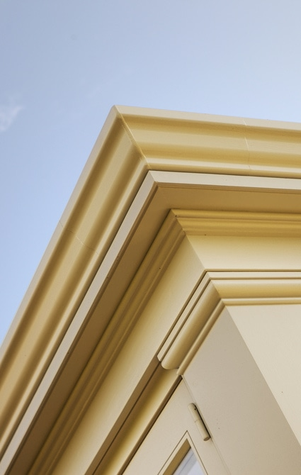 Westbury's classic design with deep entablature and delicate joinery