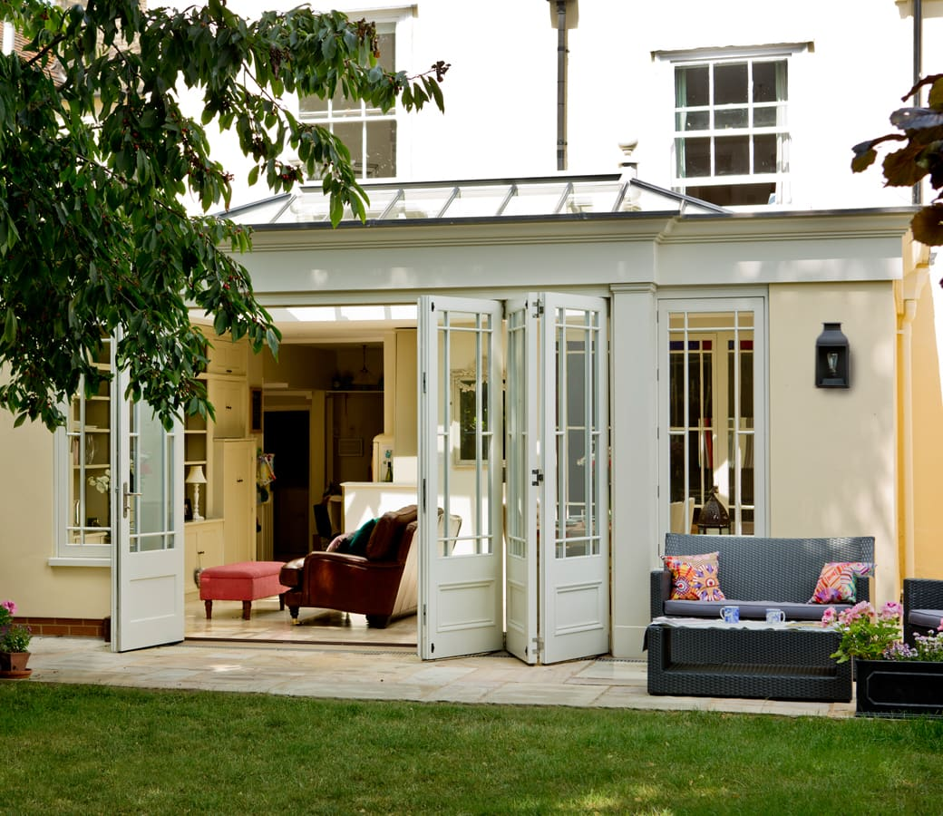 Orangery with folding doors half open