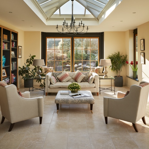 Orangery with Rosemoor-Limestone-Tumbled-Stone-Floor-Tiles