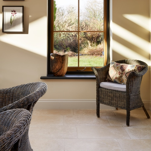 Orangery with Rosemoor Limestone Tumbled Stone Floor-Tiles