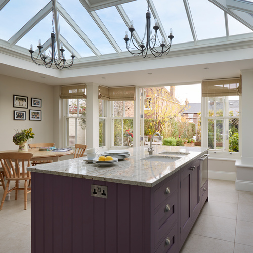 Kitchen Orangery Extension with Large Kitchen Island