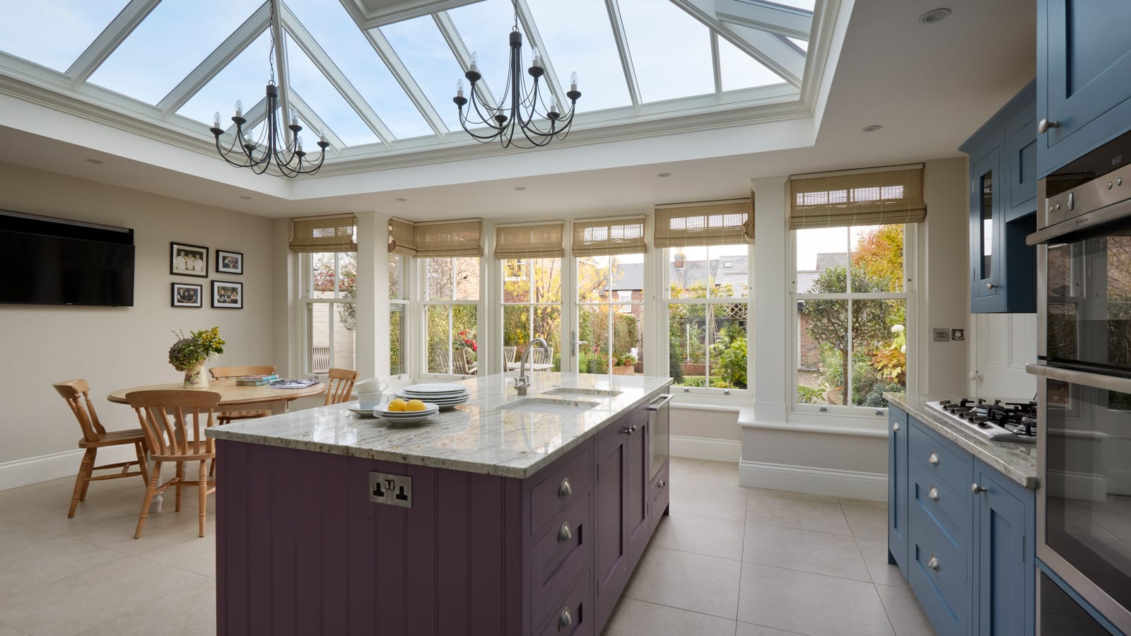 Large Orangery Extension used as Kitchen and Dining Area