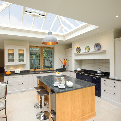 Our Burford Limestone Tumbled stone flooring beneath a stunning roof lantern