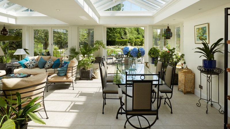 Limoges Porcelain stone flooring in a large open garden room extension