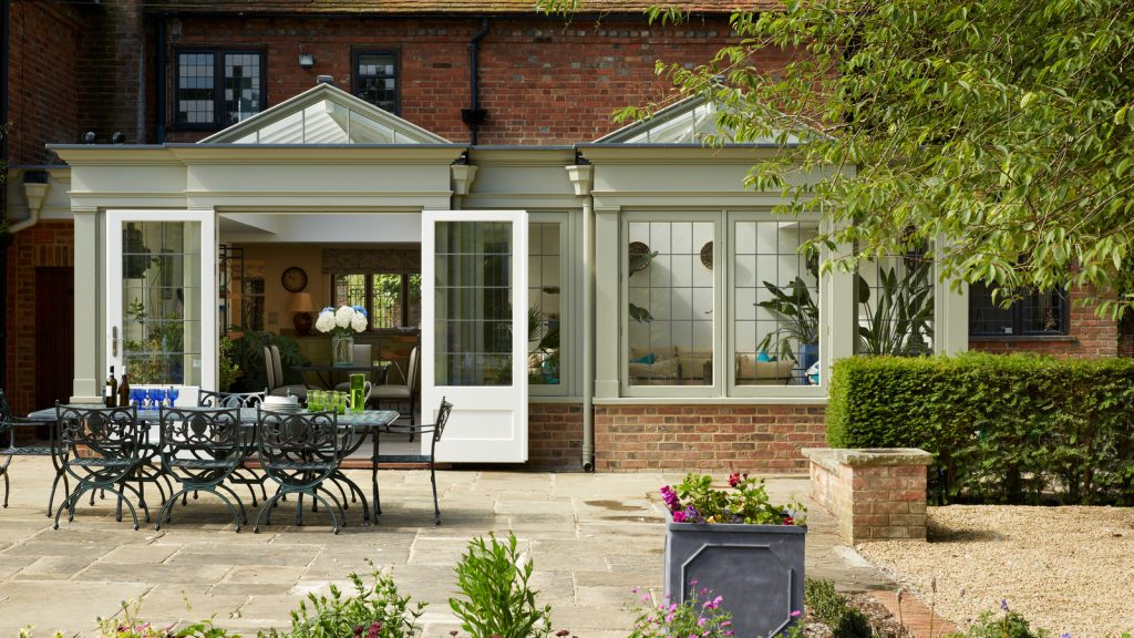 beautiful orangery in landscape garden