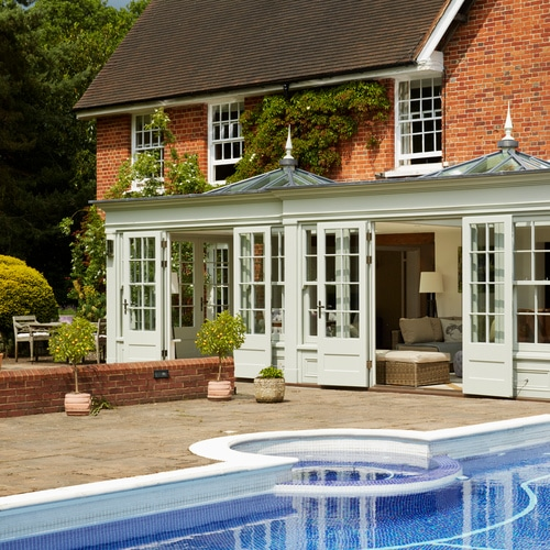 Elegant listed country home with orangery overlooking swimming pool