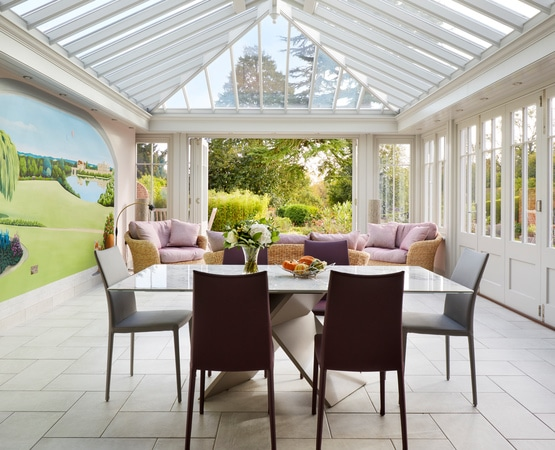 Dining area in orangery
