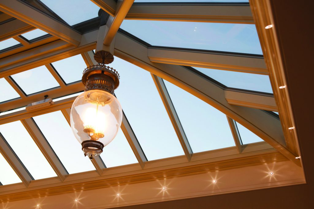 Roof lanterns allow plenty of natural light to cascade into the roof below